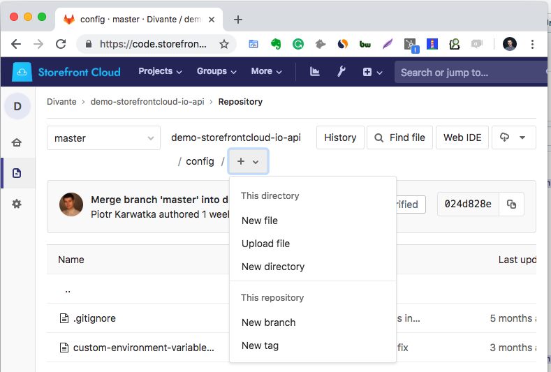 You may create a new local config file using Gitlab