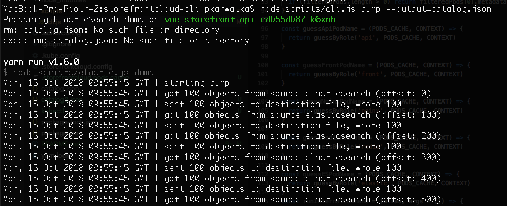 Make ElasticSearch data dump | Storefront Cloud